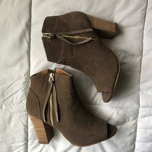 XOXO Taupe Peep-Toe Ankle Booties